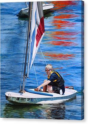 Sailing On Lake Thunderbird Canvas Print by Joshua Martin