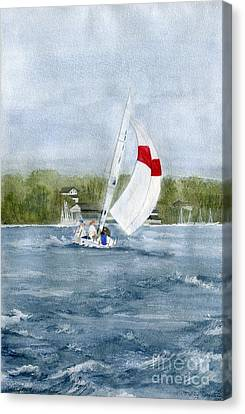 Canvas Print featuring the painting Sailing On Niagara River by Melly Terpening