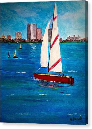 Sailing On The Charles Canvas Print