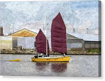 Water Vessels Canvas Print - Sailing Out Of Baltimore - Paint Fx by Brian Wallace