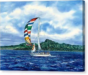 Diamond Head Canvas Print - Sailing Over Honolulu Hawaii by John YATO