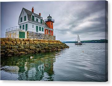 Canvas Print featuring the photograph Sailing Past The Breakwater by Rick Berk