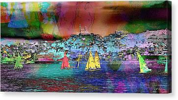 Sailing Sailboat Seascape Canvas Print by Jean Francois Gil