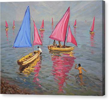 Boats In Water Canvas Print - Sailing School by Andrew Macara