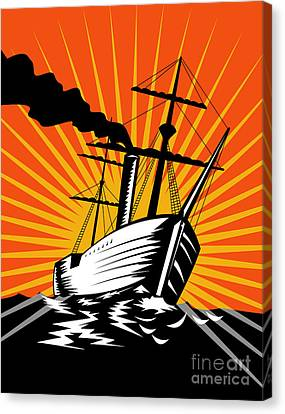 Sailing Ship Retro Woodcut Canvas Print by Aloysius Patrimonio
