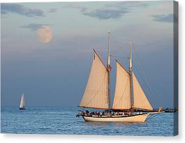Sailing Ship With Moon Canvas Print by Abhi Ganju