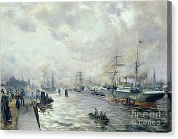 Sailing Ships In The Port Of Hamburg Canvas Print