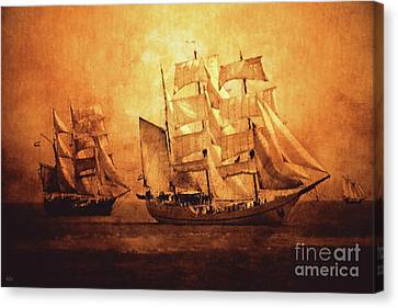 Water Vessels Canvas Print - Sailing Ships by KaFra Art
