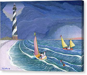 Sailing Snowmen Canvas Print by Thomas Griffin