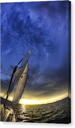 Sailing Sunset Beneteau 49 Yacht Canvas Print by Dustin K Ryan