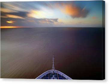Canvas Print featuring the photograph Sailing The Caribbean - Cruise Ship - Sunrise - Seascape by Jason Politte