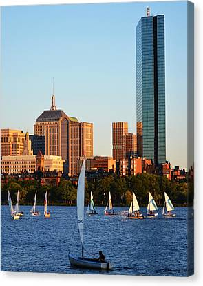 Sailing The Charles River Boston Ma Canvas Print by Toby McGuire