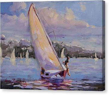 Sailing The Islands Of Boston Canvas Print by Laura Lee Zanghetti