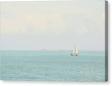 Canvas Print featuring the photograph Sailing The Ocean Blue by Deborah  Crew-Johnson