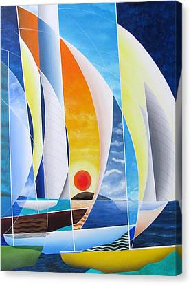 Canvas Print featuring the painting Sailing Till Sunset by Douglas Pike