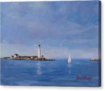 Sailing To Boston Light Canvas Print by Laura Lee Zanghetti
