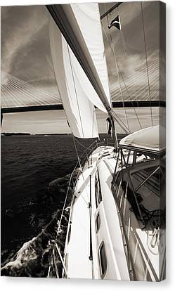 Sailing Under The Arthur Ravenel Jr. Bridge In Charleston Sc Canvas Print by Dustin K Ryan