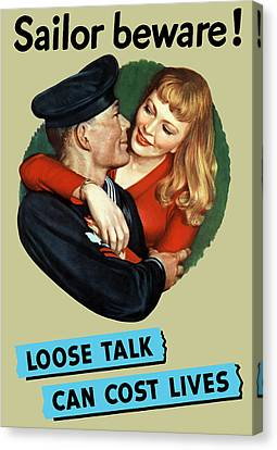 Navy Canvas Print - Sailor Beware - Loose Talk Can Cost Lives by War Is Hell Store