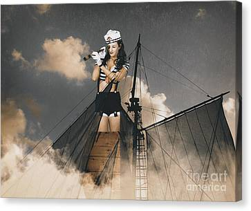 Sailor Pinup Girl On Lookout From Ships Crows-nest Canvas Print by Jorgo Photography - Wall Art Gallery