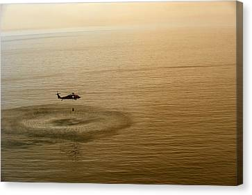 Sailors Fill A Bambi Bucket  Us Navy Canvas Print by Celestial Images