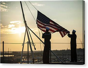 Sailors Raise The Ensign Us Navy Canvas Print by Celestial Images