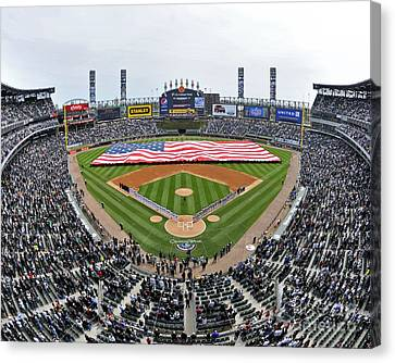 Sailors Unfurl An American Flag Chicago U.s. Cellular Field Canvas Print by Celestial Images