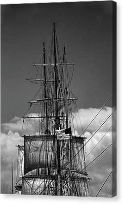 Sails And Mast Riggings On A Tall Ship In Black And White Canvas Print by Randall Nyhof