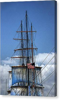 Sails And Mast Riggings On A Tall Ship With American Flag Canvas Print by Randall Nyhof