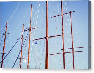 Sails In Santorini Canvas Print by Matti Ollikainen