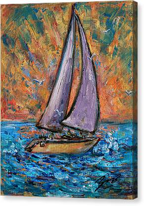 Canvas Print featuring the painting Sails Up by Xueling Zou