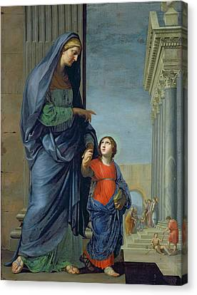 Saint Anne Leading The Virgin To The Temple Canvas Print by Jacques Stella