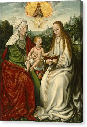 Saint Anne With The Virgin And The Christ Child Canvas Print