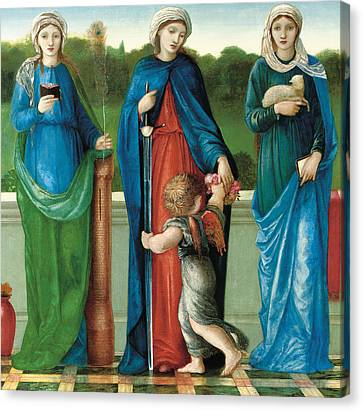 Saint Barbara And Saint Dorothy With Saint Agnes Canvas Print by Sir Edward Coley Burne-Jones