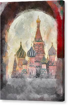 Saint Basil View At Entering Red Square  Canvas Print by Yury Malkov