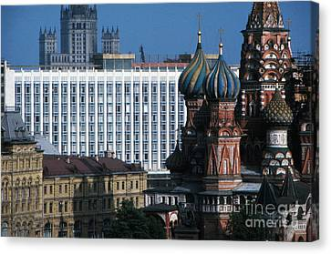 Saint Basils Cathedral In Moscow 1967 Canvas Print by The Harrington Collection