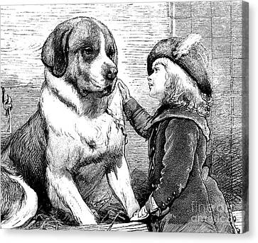 Saint Bernard And Little Girl Canvas Print