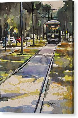 Saint Charles Street Trolley Canvas Print by Spencer Meagher
