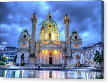 Saint Charles's Church At Karlsplatz In Vienna, Austria, Hdr Canvas Print