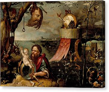 Saint Christopher And The Christ Child Canvas Print by Jan Mandijn