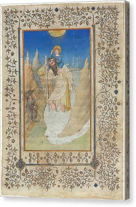 Saint Christopher Carrying The Christ Child Canvas Print by Limbourg Brothers