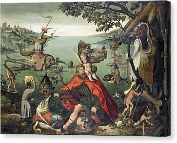 Saint Christopher Carrying The Christ Child Through A Sinful World Canvas Print by Follower of Pieter Huys