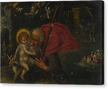 Saint Christopher Canvas Print - Saint Christopher Carrying The Infant Christ by German