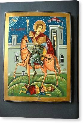 Saint Demeter St. Demetrios St. Dmitry Hand Painted Orthodox Holy Icon Canvas Print by Denise Clemenco