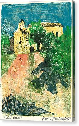 Canvas Print featuring the painting Saint Donat Provence by Martin Stankewitz