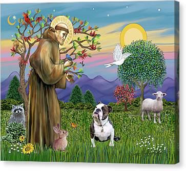 Saint Francis Blesses A Brown And White English Bulldog Canvas Print