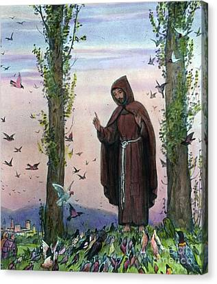 Francis Canvas Print - Saint Francis Of Assisi Preaching To The Birds by German School
