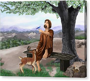 Canvas Print featuring the painting Saint Francis by Susan Kinney