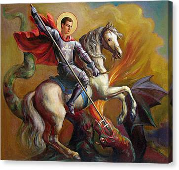 Canvas Print featuring the painting Saint George And The Dragon by Svitozar Nenyuk