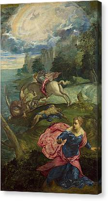 Saint George And The Dragon Canvas Print by Tintoretto