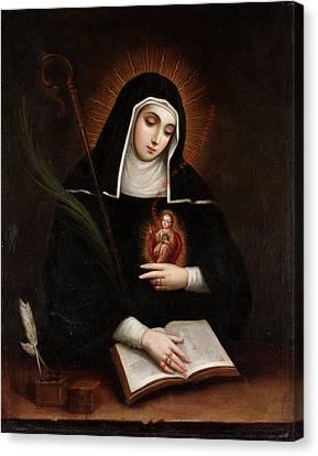 Saint Gertrude Canvas Print by Miguel Cabrera